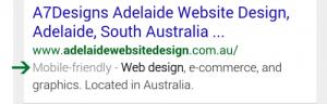 A7Designs mobile friendly google result